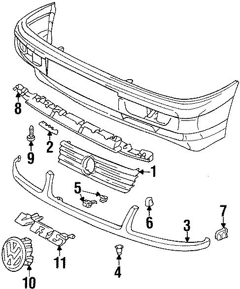 Volkswagen Passat Piece. Trim bar guide. 1995-97. Panels