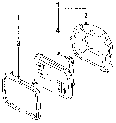 Mazda B2000 Headlight assembly. Lamp set, right (rt
