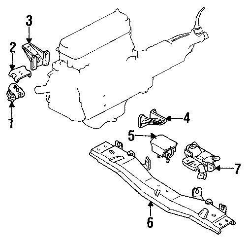 Mazda B2600 Transmission. Mount. C'member. Rear. Rubber, t