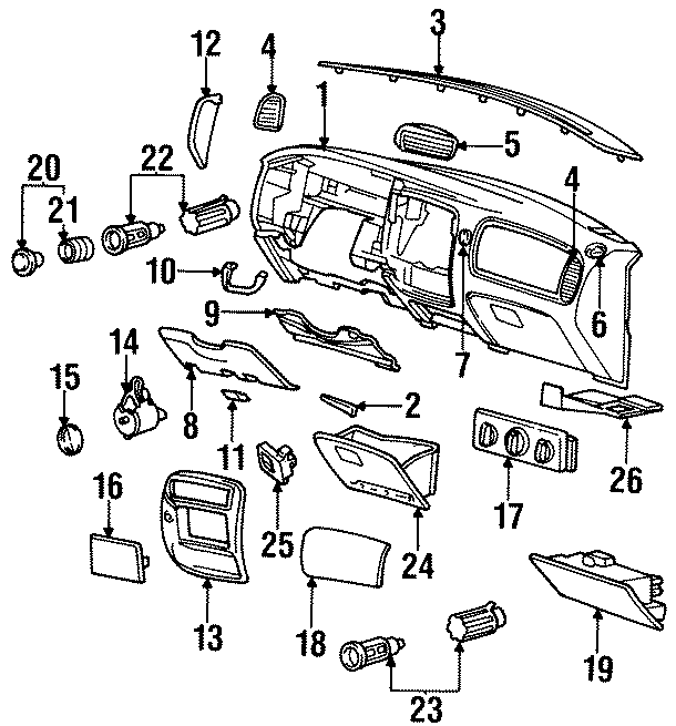 Mazda B3000 Switch knob. 1995-97. PANEL, INSTRUMENT, Body