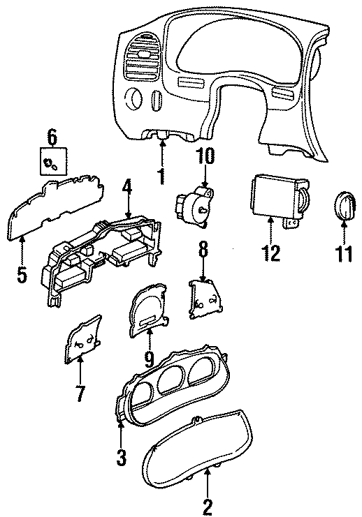 Mazda B3000 Instrument Panel Lens. 1995-97, w/tachometer