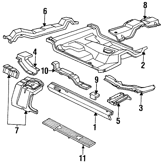 Mazda B2300 Floor Side Rail (Right, Lower). REGULAR CAB