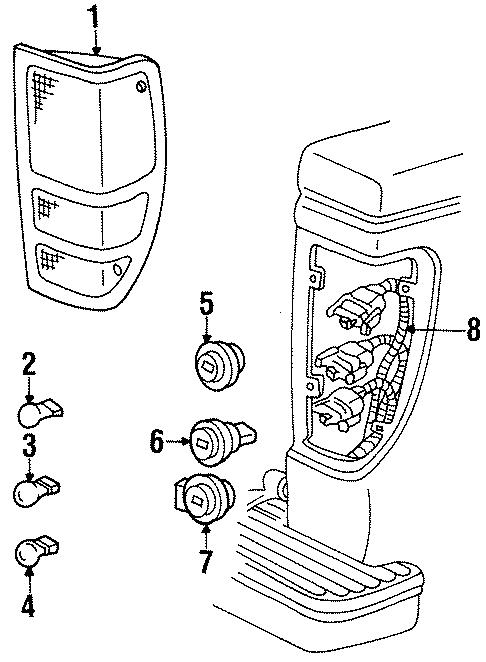 Mazda B2300 Tail Light Assembly (Right, Rear