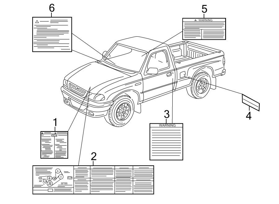 Mazda B3000 A/c system information label. Air. (a/c