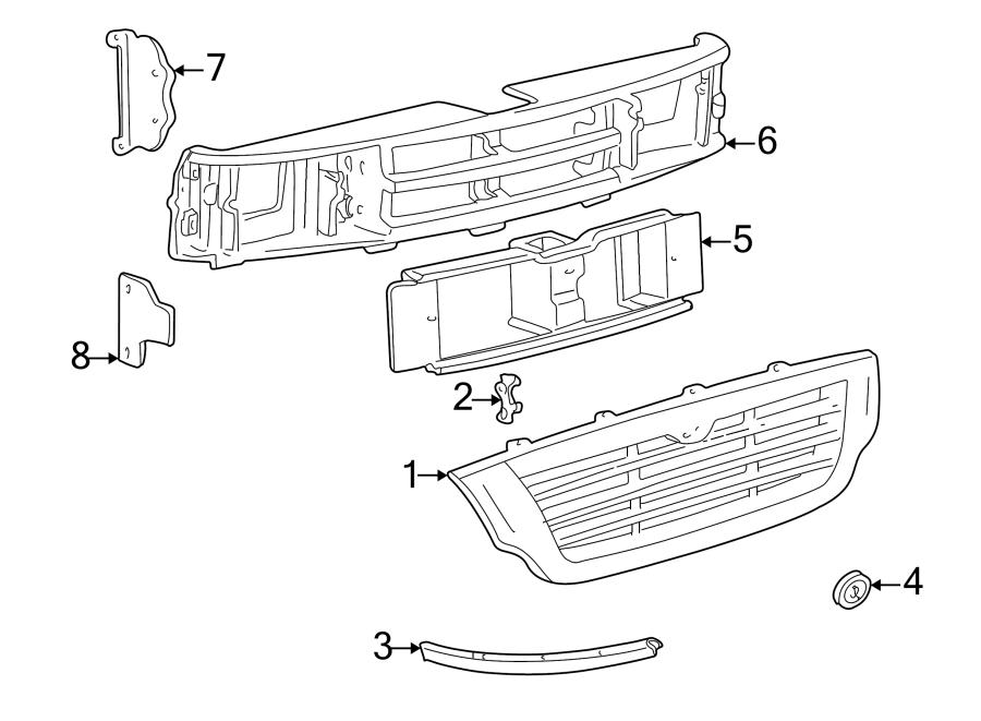 Mazda B2500 Radiator Support Panel. 1998-00, 2.5 liter