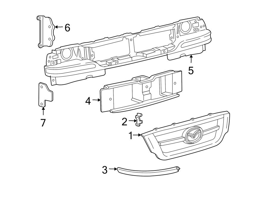 Mazda B3000 Grille Molding. 1998-00. 2001-09. Left, Front