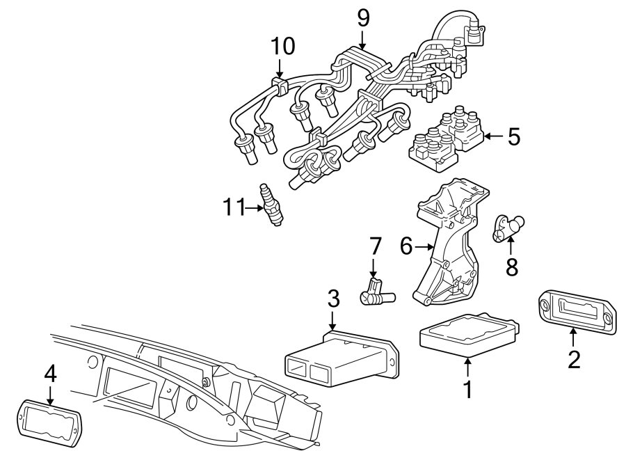 Mazda B2300 Engine Control Module Seal. 2.3 & 2.5 LITER. 3
