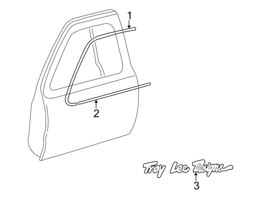 Mazda B3000 Door Window Molding (Right, Upper). CAB PLUS