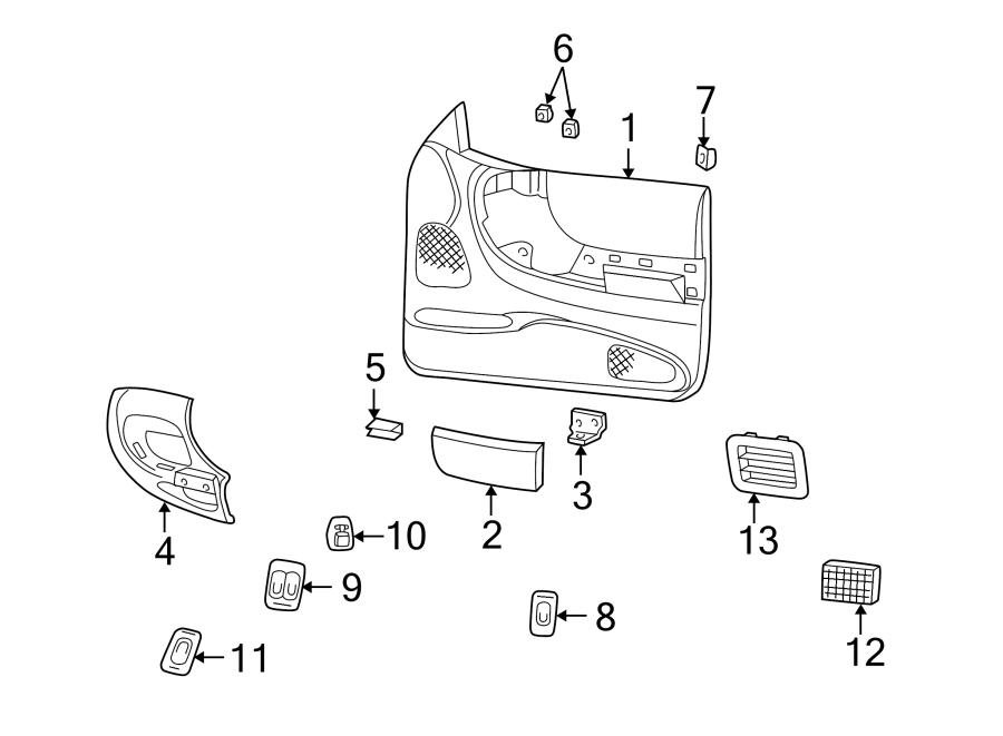 Mazda B3000 Interior Door Handle Trim. SE & LE, manual