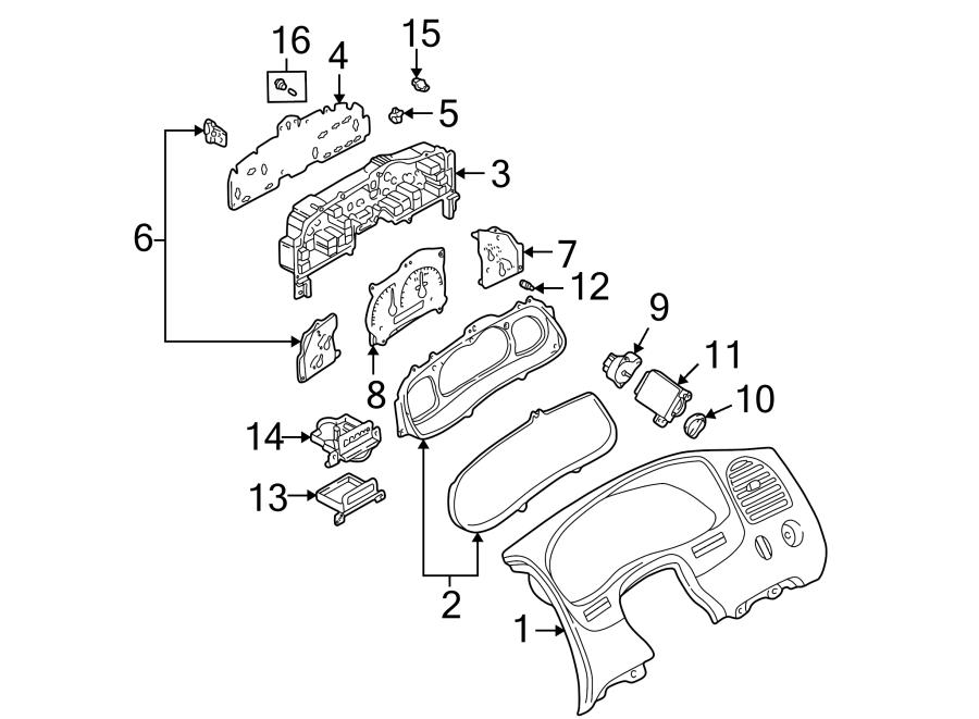Mazda B3000 Speedometer. Head. Case. Instrument cluster