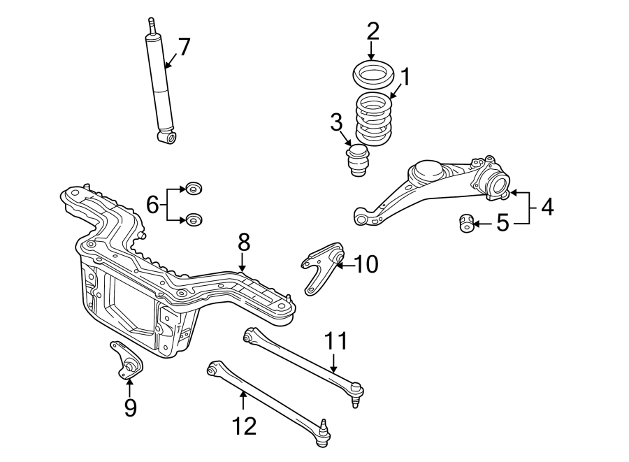 Mazda Tribute Suspension Subframe Crossmember. 2 WHEEL