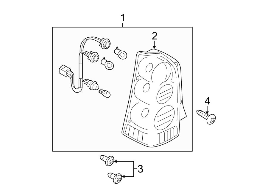 Mazda Tribute Tail Light Screw. 2005-06, No. 1. LAMPS