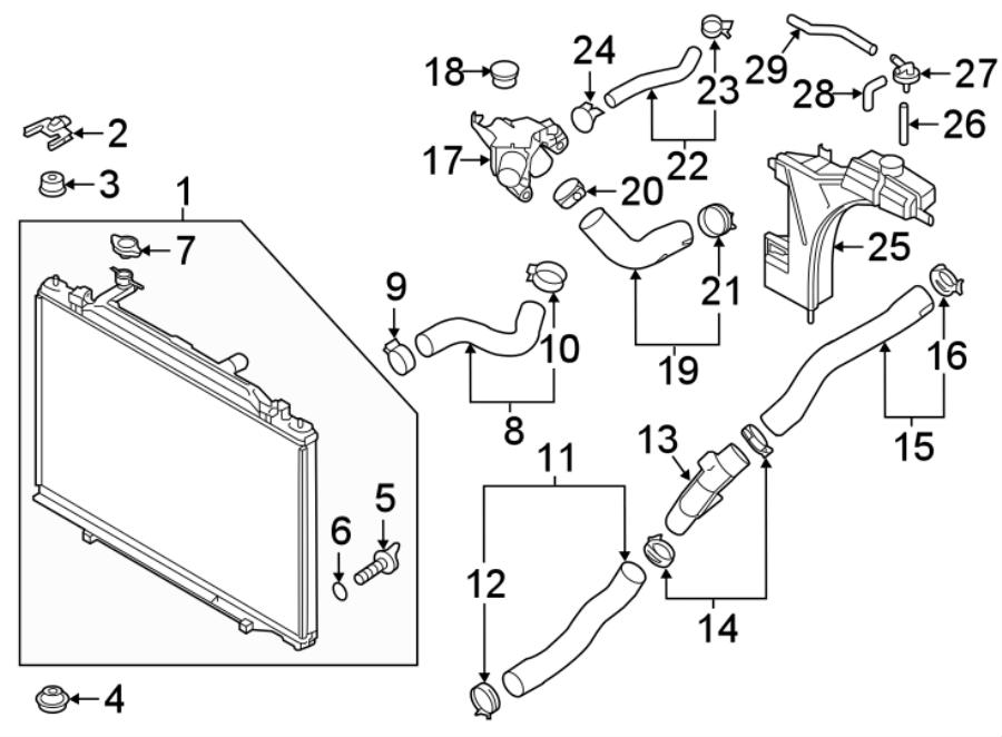 Mazda CX-9 Engine Coolant Reservoir Hose. RADIATOR