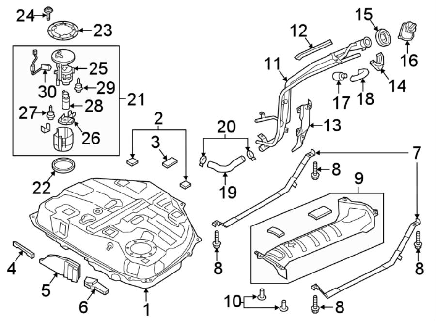 Mazda CX-9 Fuel Tank Insulator. W/O AWD, type 3