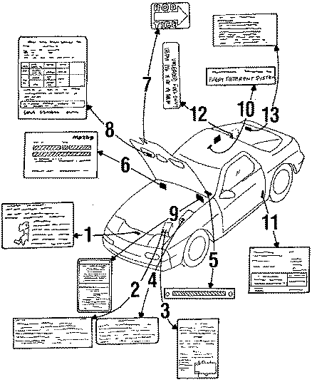 Mazda RX-7 Rod label. Hood stay label. Labels, information