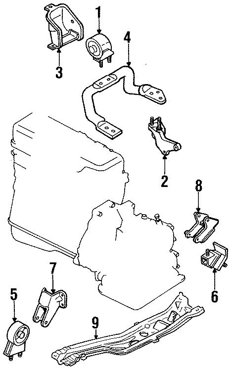 Mazda 323 Mount. Bracket. Engine. Alternator. Insulator