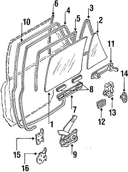 Mazda 323 Lift bracket. Wagon, w/power. REAR, GLASS, DOOR