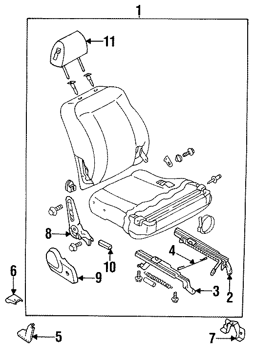 Mazda 323 Recliner. RECLINING Knuckle LT. Included in seat