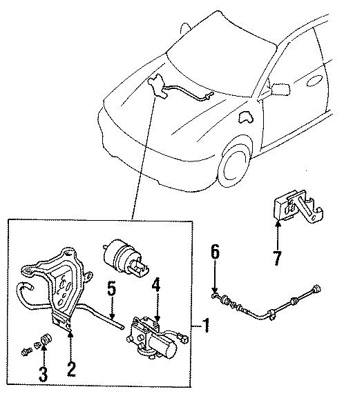 Mazda Protege Cable. 1995-96. 1997-98 W/1.8 LITER. Protege