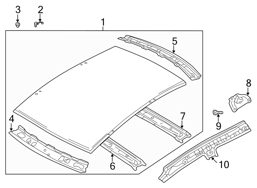 Mazda Protege5 Roof Header Panel. W/O SUNROOF. W/SUNROOF