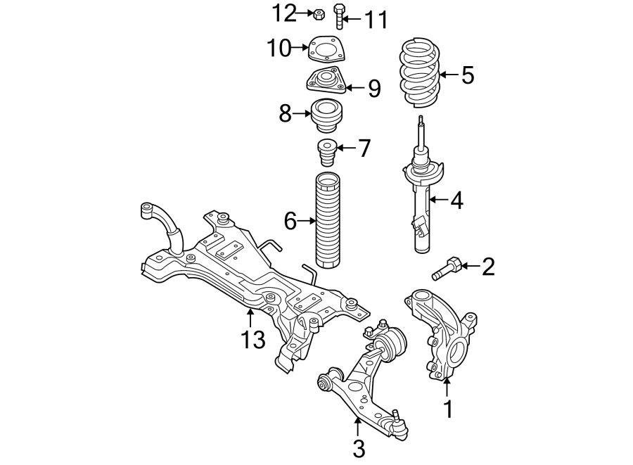 Mazda 3 Suspension Strut. COMPONENTS, FRONT, May