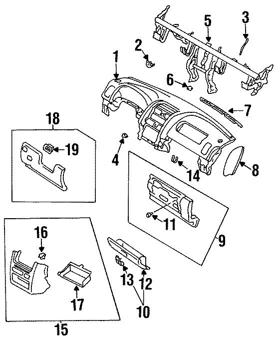 Mazda MPV Glove Box Door Striker. PANEL, INSTRUMENT, Front