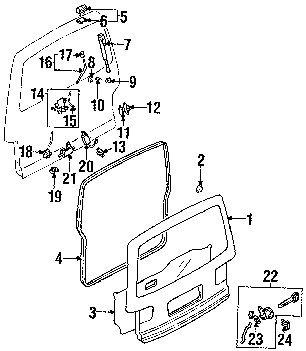 Mazda MPV Door Shell Grommet. Upper, GATE, Left