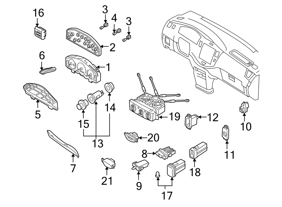 Mazda MPV Instrument Panel Bezel. SWITCHES, Switch
