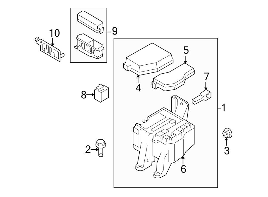 Mazda CX-9 Fuse Box Cover. ENGINE COMPARTMENT. ELECTRICAL