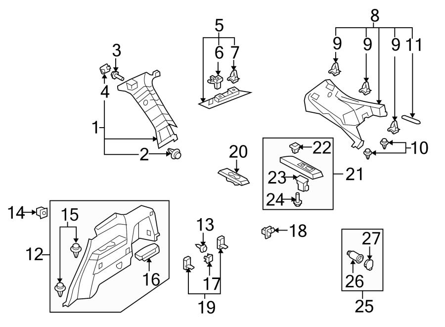 Mazda CX-9 Interior Quarter Panel Trim Panel. W/10, 11