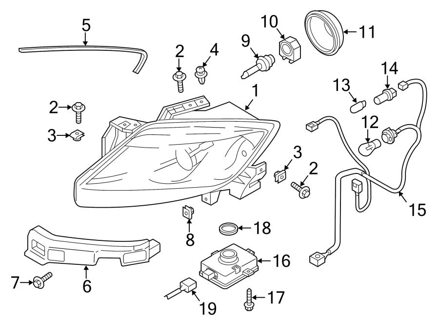 Mazda CX-9 Headlight. CX-9; w/HID; Left. XENON, 2013-15