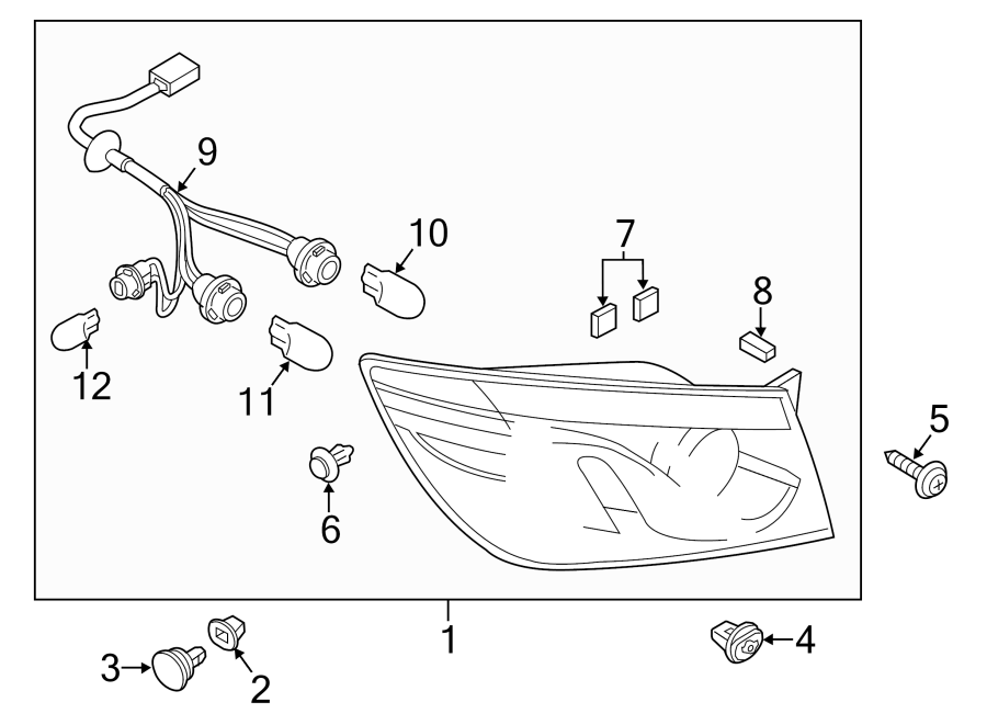 Mazda CX-9 Tail Light Harness. ON BODY, 2013-15