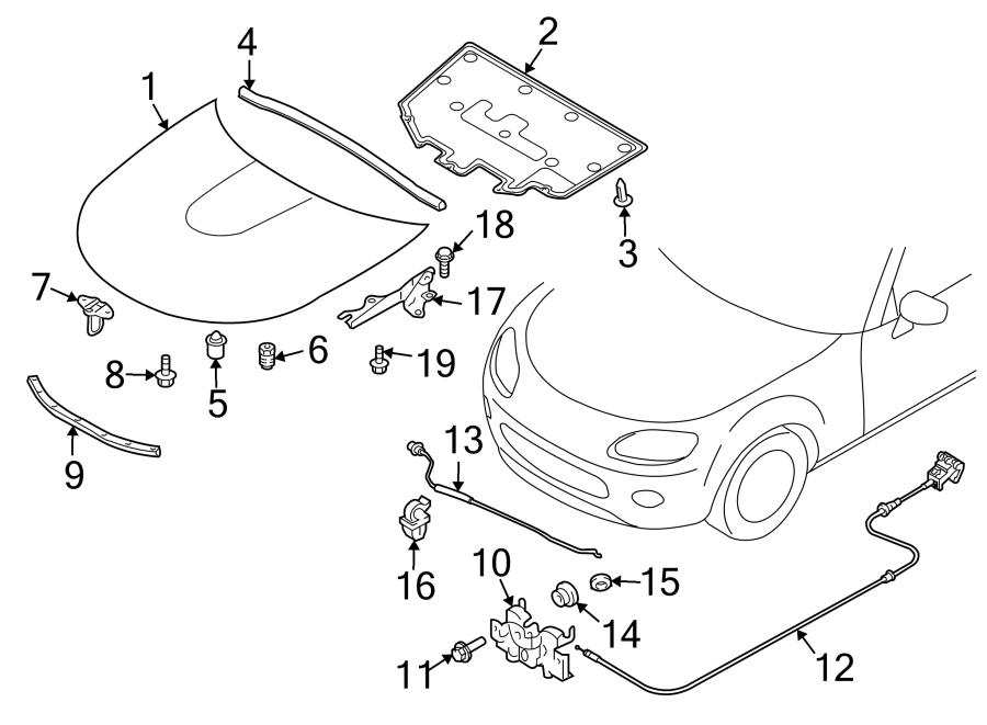 Mazda MX-5 Miata Hood Seal. Front, COMPONENTS, Body