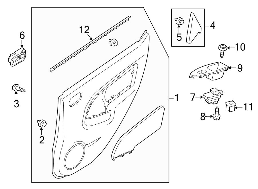 Mazda 2 Door Interior Trim Panel (Left, Rear). W/rocker