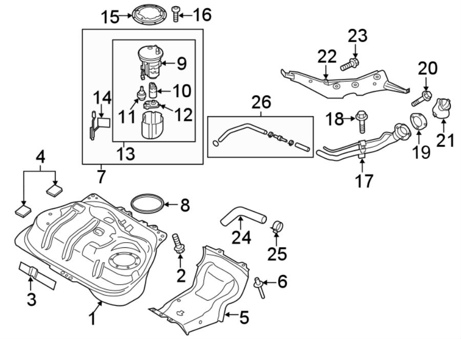 Mazda MX-5 Miata Fuel Filler Neck Bolt. Filler. Bolt. Pipe