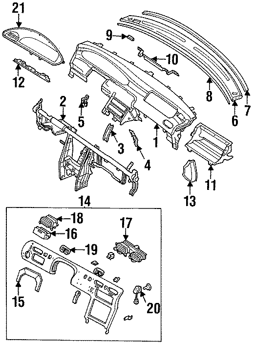 Mazda 626 Panel, swit. Switch panel. 1994-97, manual trans