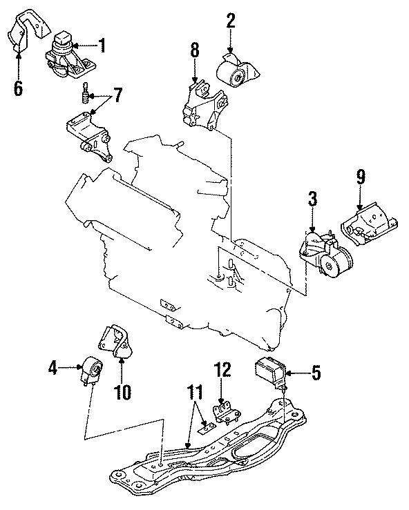 Mazda 626 Mount. RUBBER. NO.5, ENGINE. MTG:. Engine c