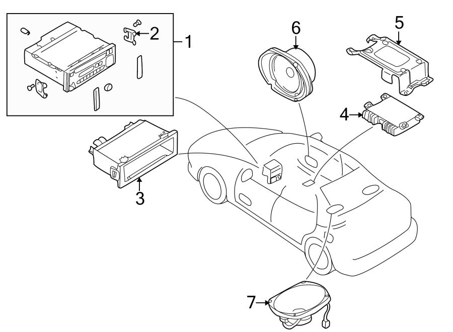 Mazda 626 Speaker. Package tray, standard audio