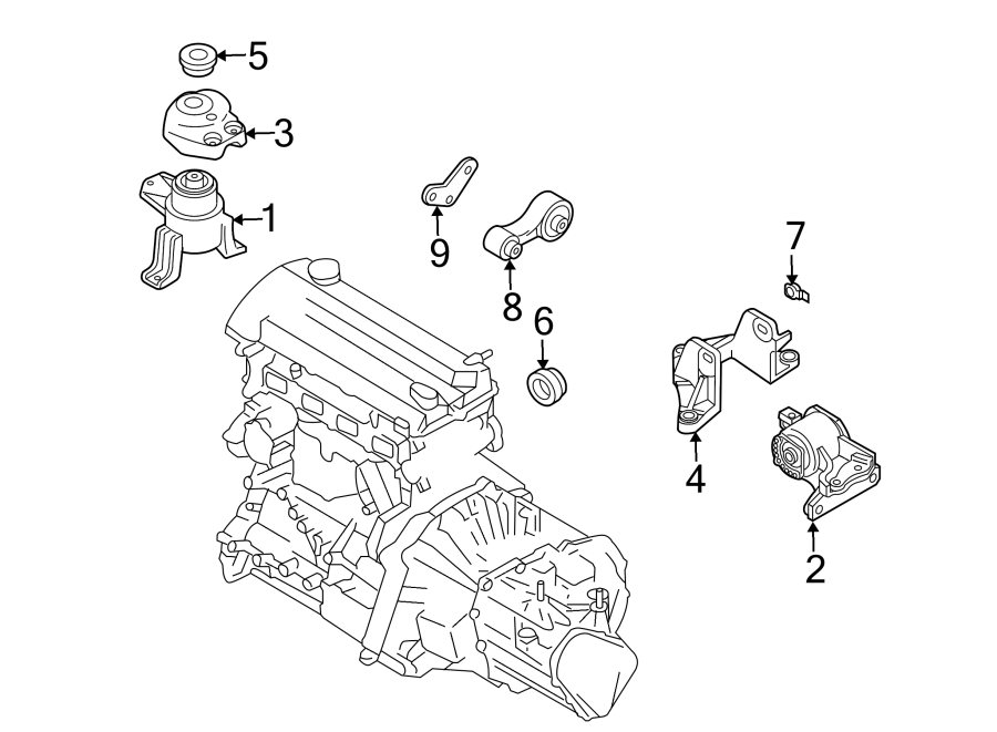 Mazda 6 Automatic Transmission Mount. ENGINE, Replace