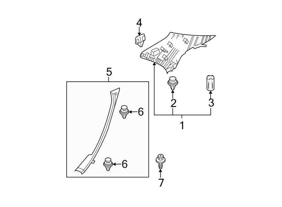 Mazda 6 Body C-Pillar Trim Panel. SEDAN, w/o MAZDASPEED6