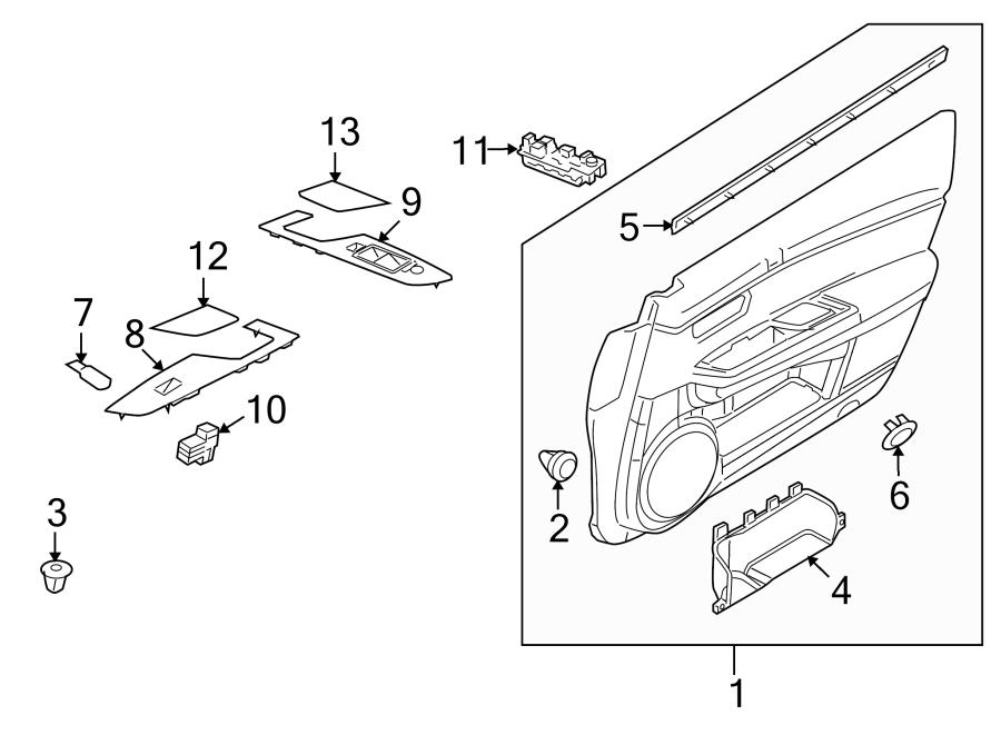 Mazda 6 Door Interior Trim Panel. Cloth, w/10 speaker