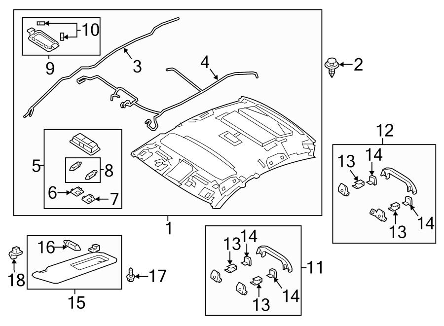 Mazda 6 Headliner Wiring Harness. W/O SUNROOF, w/o visor