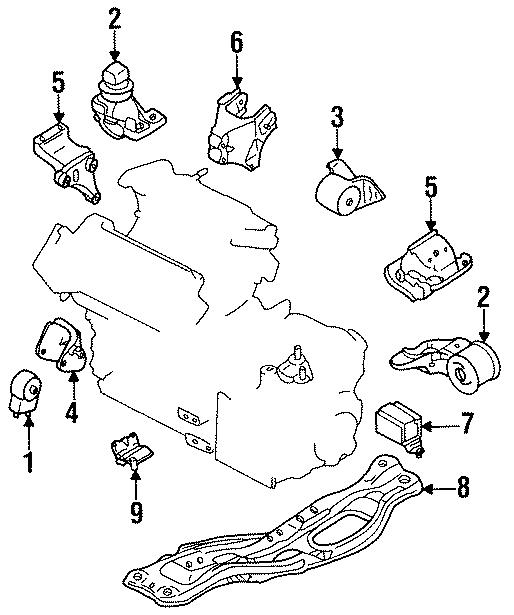 Mazda MX-6 Motor mount. RUBBER, ENGINE MOUNTING. Trans