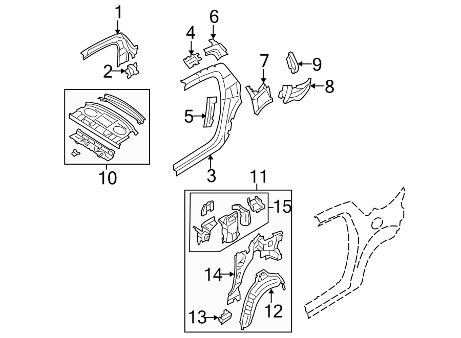 Mazda RX-8 Quarter Panel Reinforcement. Inner, Right