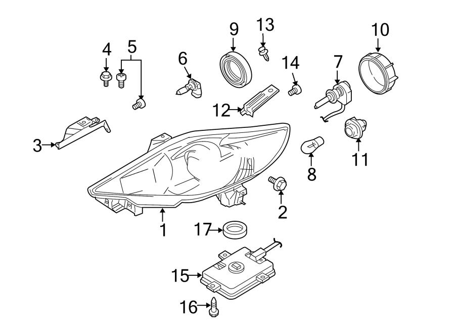 Mazda 5 Bracket. Headlight. W/hid, 2006-07. W/hid, 2008-10