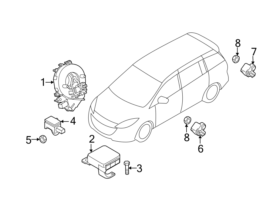 Mazda 3 Air Bag Impact Sensor. Door, Crash, MODULES