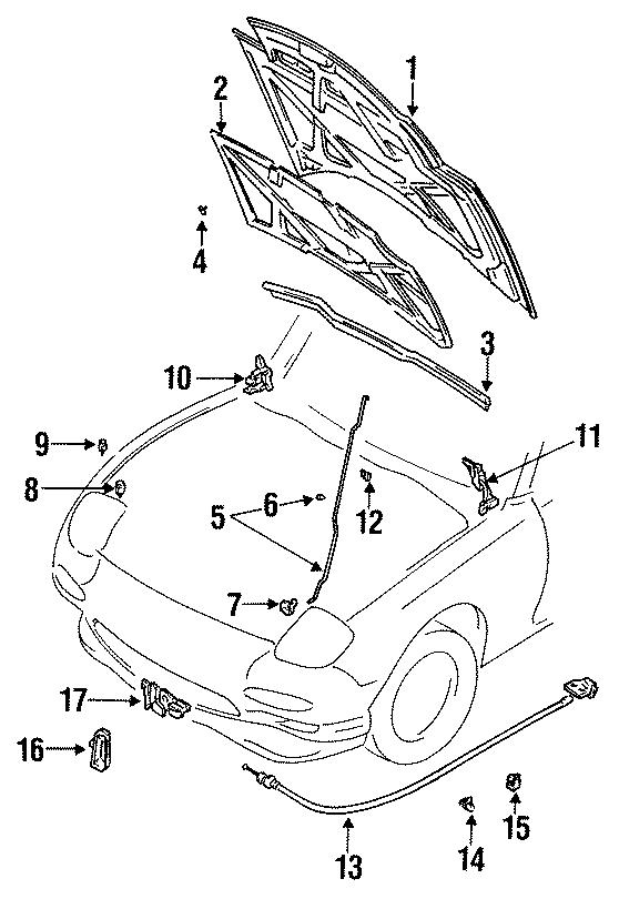Mazda RX-7 Hood Insulation Pad Clip. Insulator. Fastener