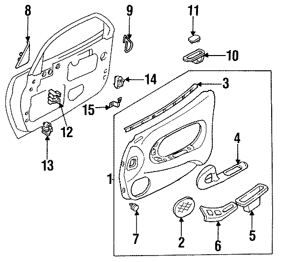Mazda RX-7 Bracket, trim. Door trim panel bracket. Trim