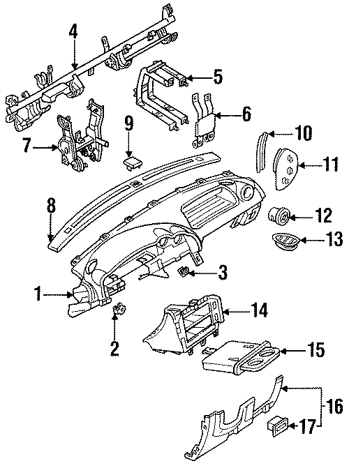 Mazda MX-3 Dashboard Air Vent. 1990-93, heater & AC, all