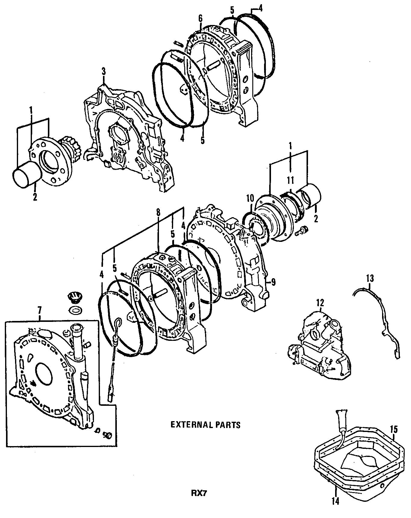 Mazda RX-7 Rotor Housing. (Front). RX-7; w/o Turbo. W/Fuel